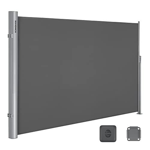 Songmics Seitenmarkise 200 x 350 cm rauchgrau