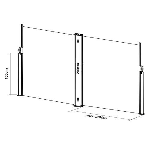 Blumfeldt Bari Doppio 620 Doppel-Seitenmarkise 600 x 200cm anthrazit - 8