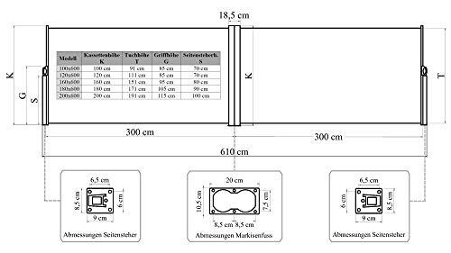 Vanvilla Doppel Seitenmarkise Beige 200×600 cm - 3