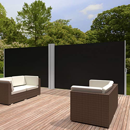 TecTake Doppel-Seitenmarkise Schwarz 200×600 cm - 3