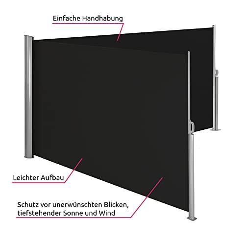 TecTake Doppel-Seitenmarkise Schwarz 200×600 cm - 4