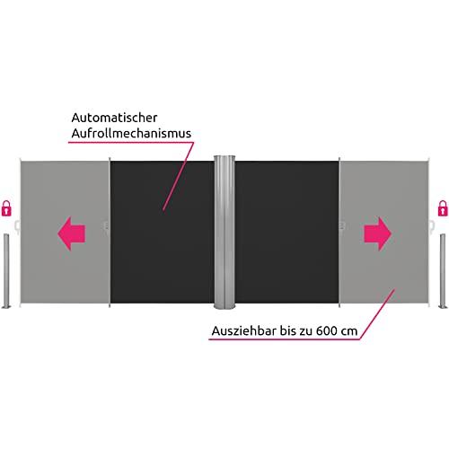 TecTake Doppel-Seitenmarkise Schwarz 200×600 cm - 5