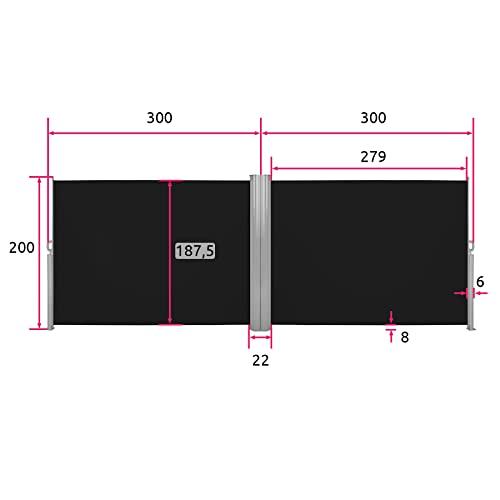TecTake Doppel-Seitenmarkise Schwarz 200×600 cm - 6
