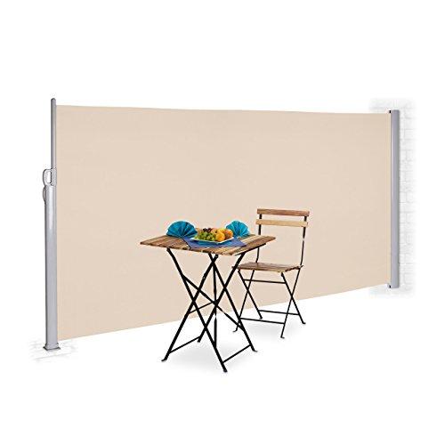 Relaxdays Seitenmarkise 180 x 300 cm Beige