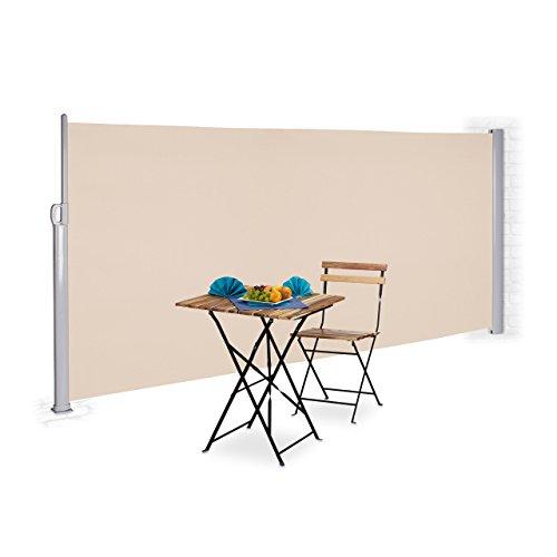 Relaxdays Seitenmarkise 160 x 300 cm Beige