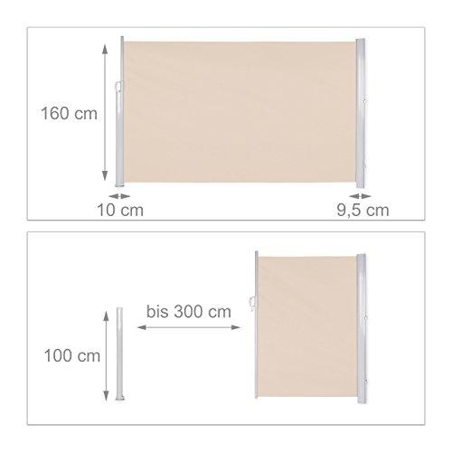 Relaxdays Seitenmarkise 160 x 300 cm Beige - 2
