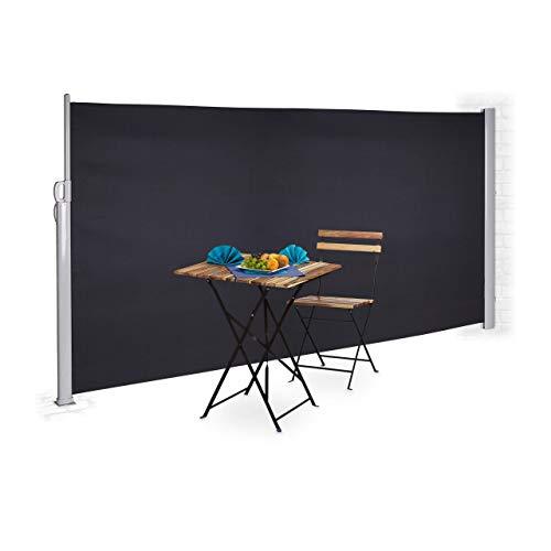 Relaxdays Seitenmarkise 180 x 300 cm Anthrazit
