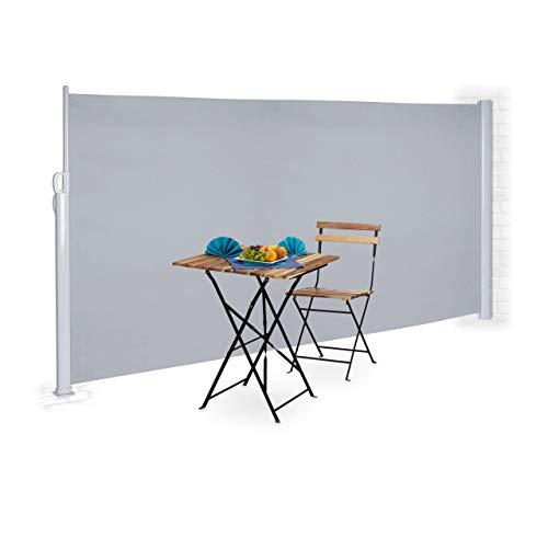 Relaxdays Seitenmarkise 180 x 300 cm Grau