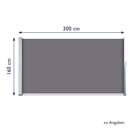 SVITA Seitenmarkise 160 x 300 cm Schwarz/Anthrazit - 3