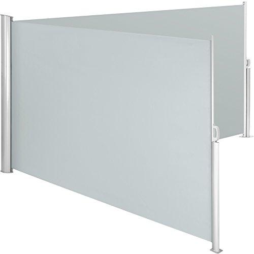 TecTake Doppel-Seitenmarkise Grau 180x600 cm