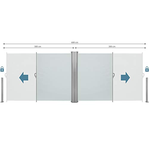 TecTake Doppel-Seitenmarkise Grau 180×600 cm - 4