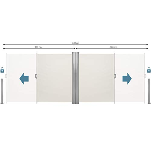 TecTake Doppel-Seitenmarkise Beige 180×600 cm - 4