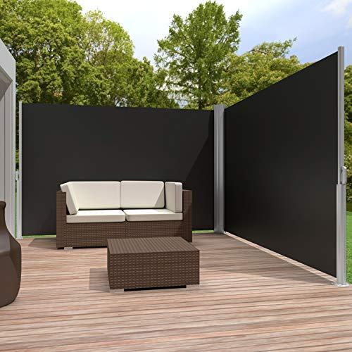 TecTake Doppel-Seitenmarkise Schwarz 180x600cm - 2