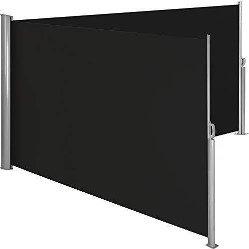 TecTake Doppel-Seitenmarkise Schwarz 160x600 cm