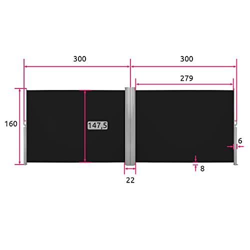 TecTake Doppel-Seitenmarkise Schwarz 160x600cm - 6