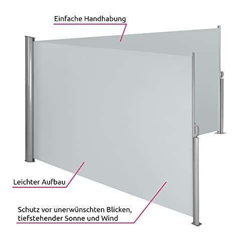 TecTake Doppel-Seitenmarkise Grau 160×600 cm - 4