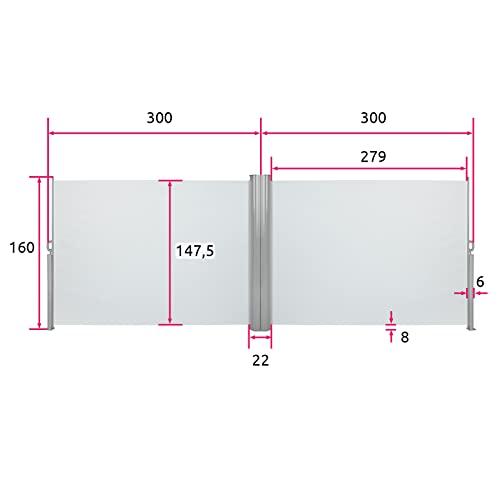 TecTake Doppel-Seitenmarkise Grau 160×600 cm - 6