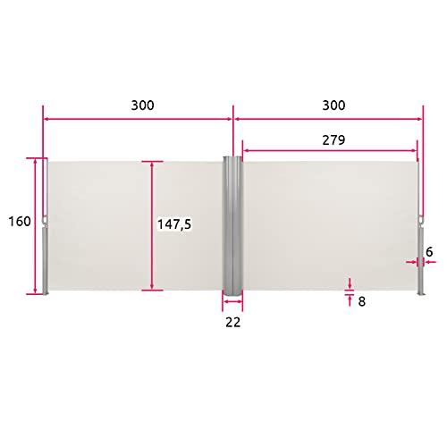 TecTake Doppel-Seitenmarkise Beige 160×600 cm - 6