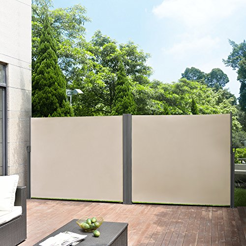 [pro.tec] Doppelte Seitenmarkise 180 x 600 cm Beige