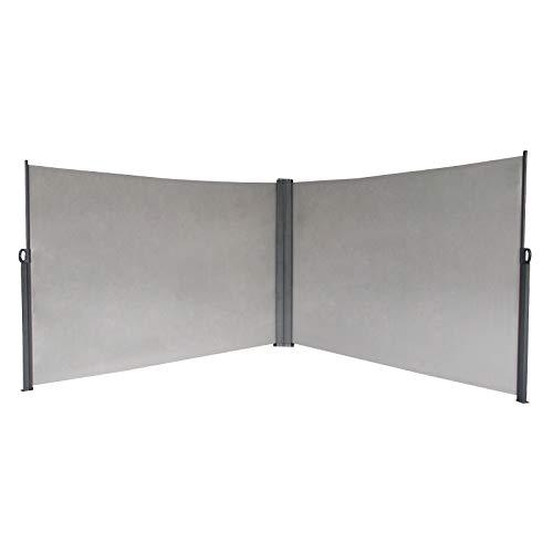 SVITA Doppel Seitenmarkise Sichtschutz Sonnenschutz ausziehbar 600x180cm Hellgrau