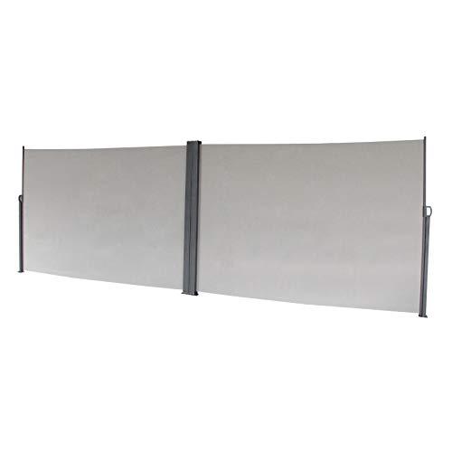 SVITA Doppel Seitenmarkise Sichtschutz Sonnenschutz ausziehbar 600x180cm Hellgrau - 2