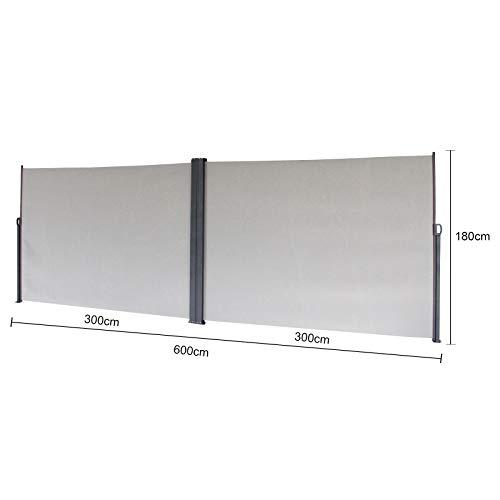 SVITA Doppel Seitenmarkise Sichtschutz Sonnenschutz ausziehbar 600x180cm Hellgrau - 3