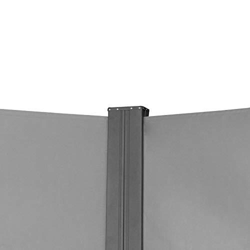SVITA Doppel Seitenmarkise Sichtschutz Sonnenschutz ausziehbar 600x180cm Hellgrau - 4