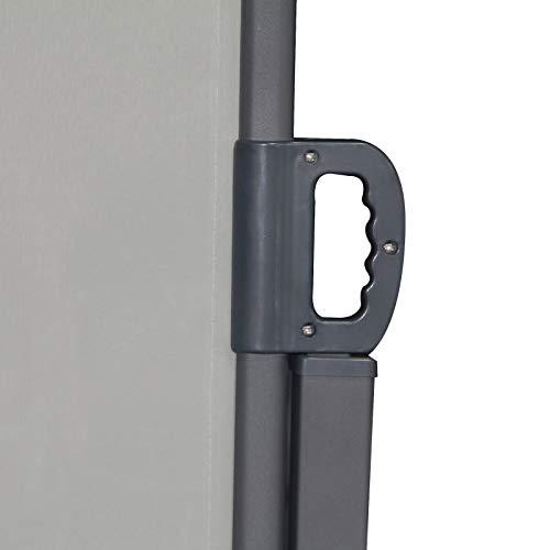 SVITA Doppel Seitenmarkise Sichtschutz Sonnenschutz ausziehbar 600x180cm Hellgrau - 8