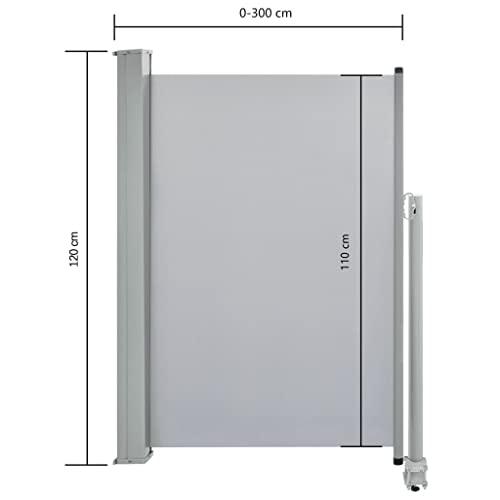 vidaXL Seitenmarkise 120×300 cm Grau - 8