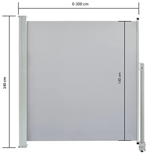 vidaXL Seitenmarkise 140×300 cm Grau - 4