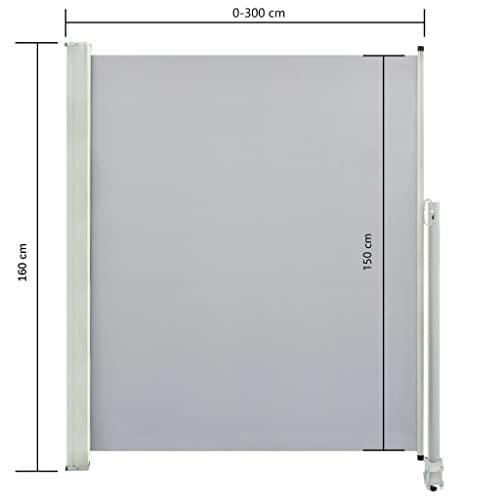 vidaXL Seitenmarkise 160×300 cm Grau - 3