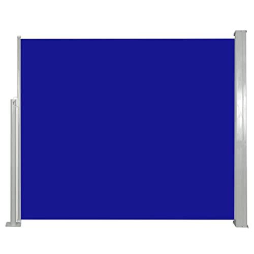 vidaXL Seitenmarkise 120x300cm Blau Sichtschutz Windschutz Sonnenschutz Balkon