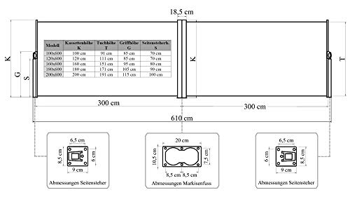 vanvilla Doppel-Seitenmarkise Braun 200×600 cm - 2