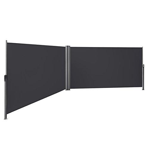 Songmics Doppel-Seitenmarkise 160 x 600 cm rauchgrau