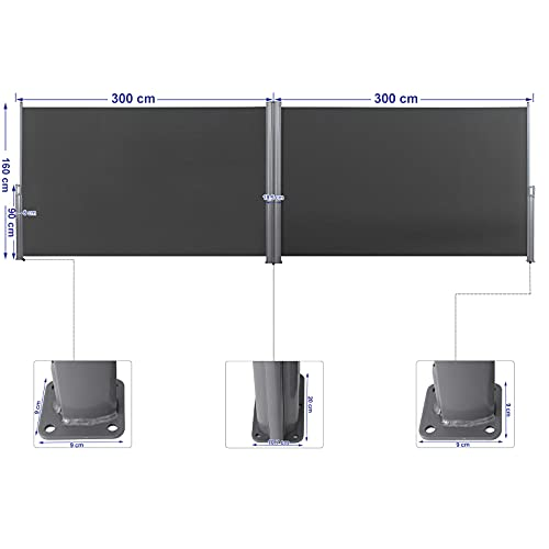 Songmics Doppel-Seitenmarkise 160 x 600 cm rauchgrau - 2