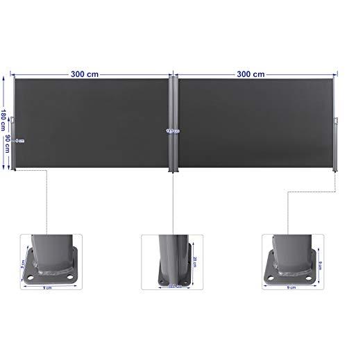 Songmics Doppel-Seitenmarkise 180 x 600 cm rauchgrau - 2