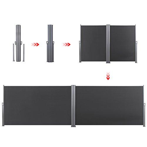 Songmics Doppel-Seitenmarkise 180 x 600 cm rauchgrau - 8