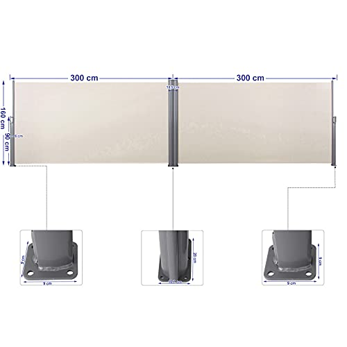 Songmics Doppel-Seitenmarkise 180 x 600 cm beige - 3
