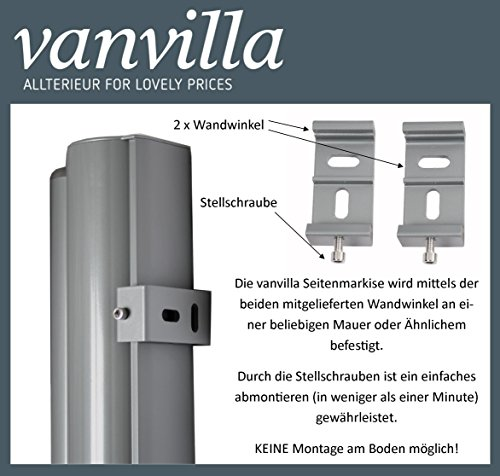 Vanvilla Balkon Seitenmarkise Anthrazit 120×300 cm - 2