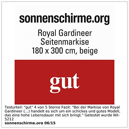 Royal Gardineer Seitenmarkise 120 x 200 cm beige - 3