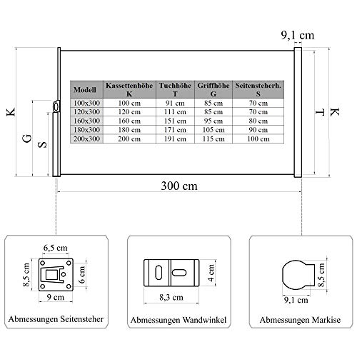 Vanvilla Seitenmarkise Beige 200×300 cm - 7