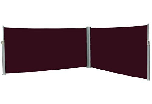 vanvilla Doppel Seitenmarkise Eck Markise Sichtschutz Windschutz Sonnenschutz Bordeaux 200x600 cm