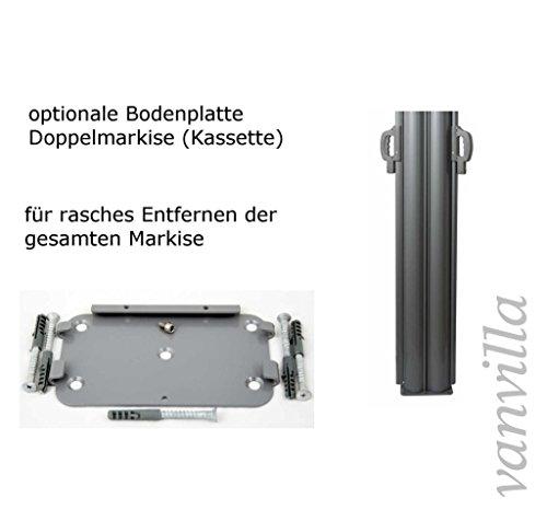 vanvilla Doppel Seitenmarkise Eck Markise Sichtschutz Windschutz Sonnenschutz Bordeaux 200×600 cm - 3