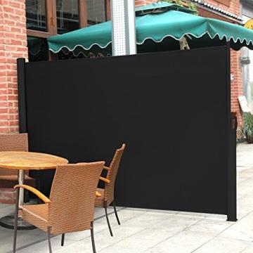 songmics seitenmarkise 200 x 300cm schwarz. Black Bedroom Furniture Sets. Home Design Ideas