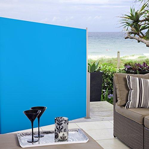 Bunte Seitenmarkisen am Beispiel einer blauen Ultranatura Maui