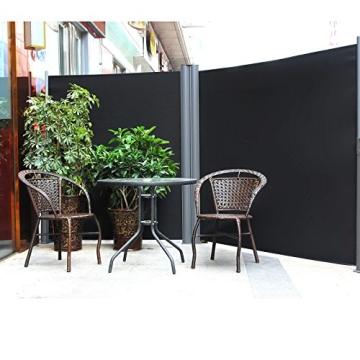 Songmics Doppel Seitenmarkise 160 x 600 cm verdickter Polyester 280 g/m² Seitenrollo Sichtschutz GSA320H - 2