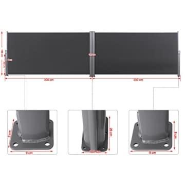 Songmics Doppel Seitenmarkise 160 x 600 cm verdickter Polyester 280 g/m² Seitenrollo Sichtschutz GSA320G - 4