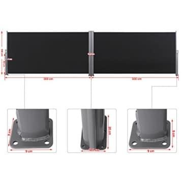 Songmics Doppel Seitenmarkise 160 x 600 cm verdickter Polyester 280 g/m² Seitenrollo Sichtschutz GSA320H - 3