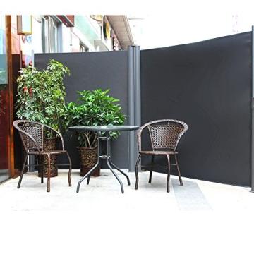 Songmics Doppel Seitenmarkise 160 x 600 cm verdickter Polyester 280 g/m² Seitenrollo Sichtschutz GSA320G - 2
