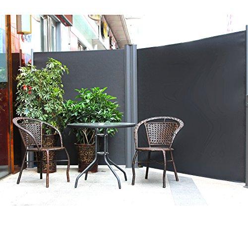 Songmics Doppel Seitenmarkise 160 x 600 cm verdickter Polyester 280 g/m² Seitenrollo Sichtschutz
